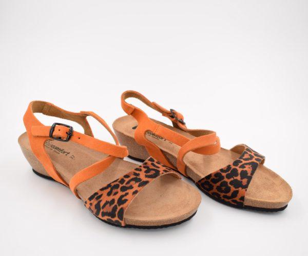 Sandalia-Bio-Señora-Sunny-Leopardo-Naranja